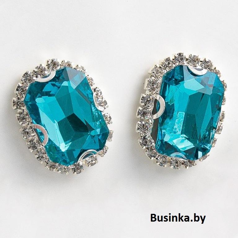 Стразы пришивные в серебряной оправе 18*24 мм «Прямоугольник» с круглыми углами, голубой (1 шт)