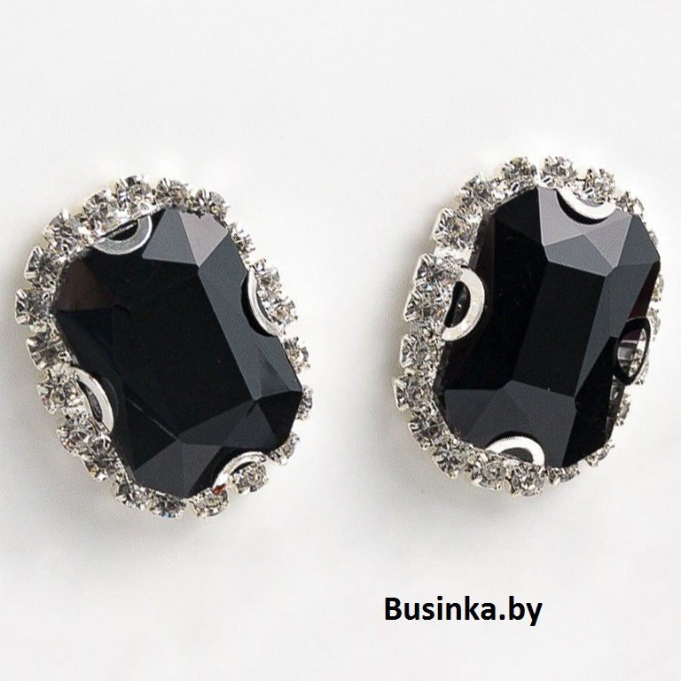 Стразы пришивные в серебряной оправе 18*24 мм «Прямоугольник» с круглыми углами, чёрный (1 шт)