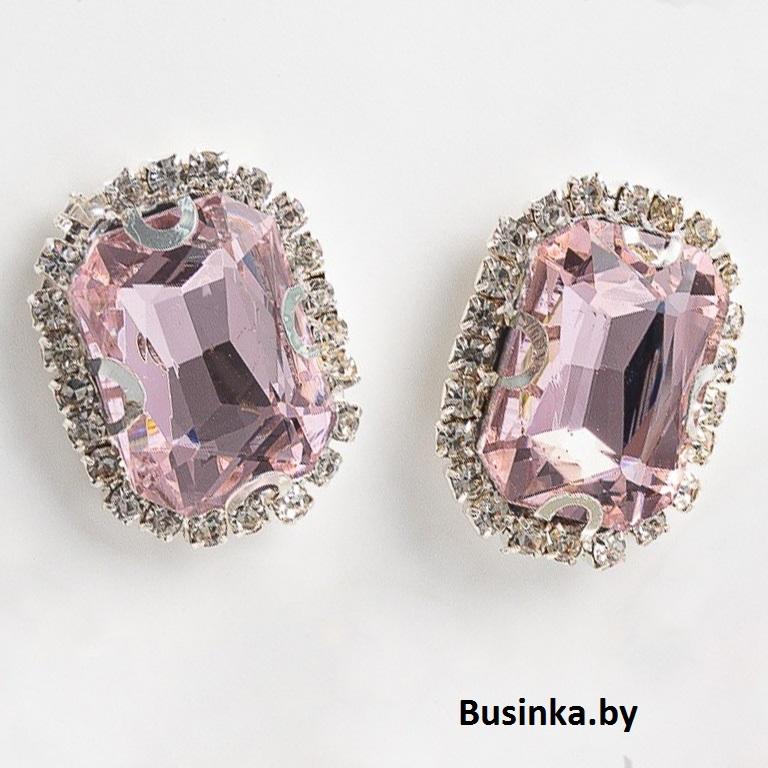 Стразы пришивные в серебряной оправе 18*24 мм «Прямоугольник» с круглыми углами, светло-розовый (1 шт)